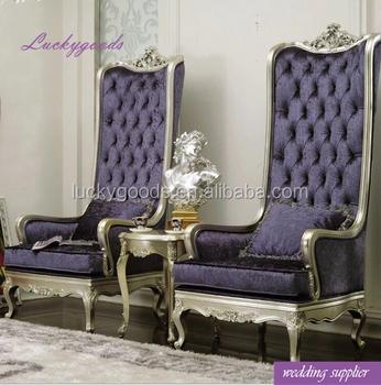 LYZ024 Luxury Purple Elegant Bride And Groom Wedding Chair For Sale