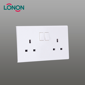 2 G 13A UK 3 Pin Plug Switch Socket Twin With Double Pole Switch