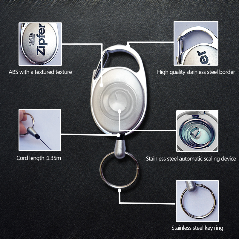 Fashion small retractable cord reels carabiner id pullers