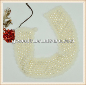 fashions pearl blouse collar design neck design/pearl collar for lady dress decoration china supplier