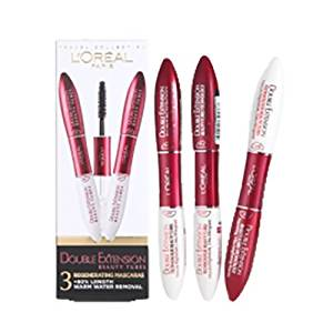 9dec29bfcb0 Get Quotations · Loreal Double Extension Beauty Tubes Black Mascara 3 Pc  Box Set