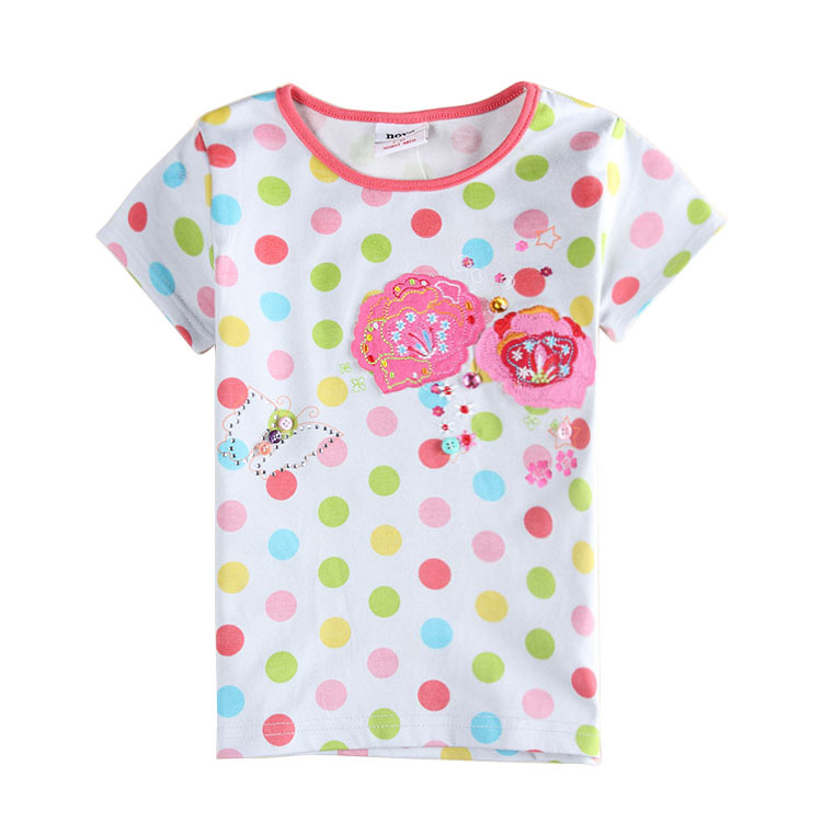 Get Quotations · nova kids wear clothing summer tops girls t shirts polka  dot t shirts children clothes t 0149339bf051