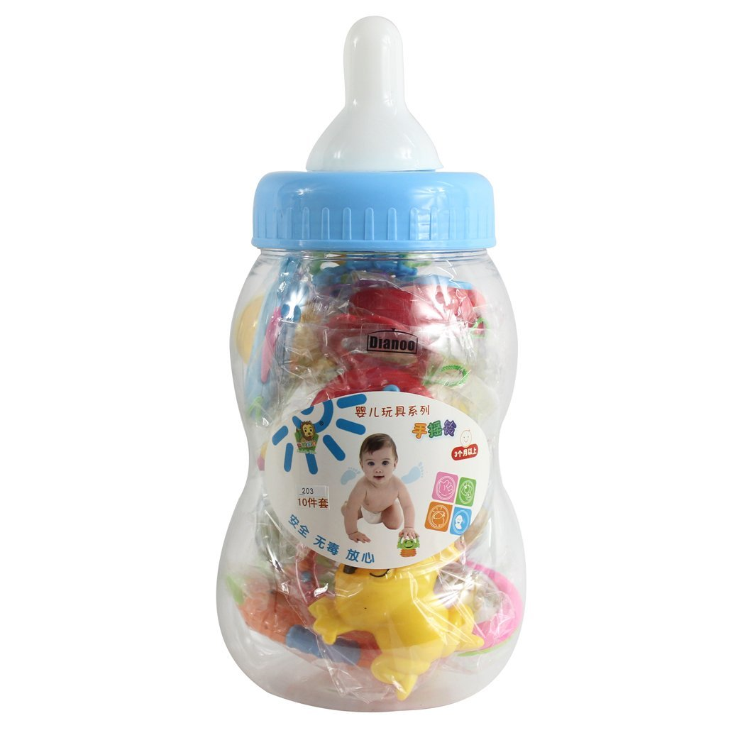 Dianoo Feeding Bottle with Bite Teether Toys, Bell Toys, Baby toys, with all kinds of Toys As the picture shows ( the colors will be sent at random )