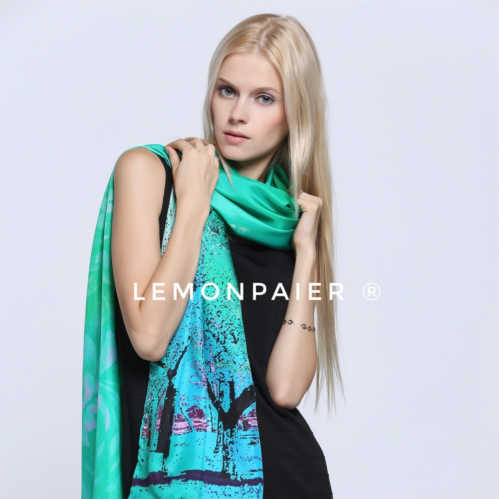 LEMONPAIER Digital Print Custom Made Design Silk Scarf