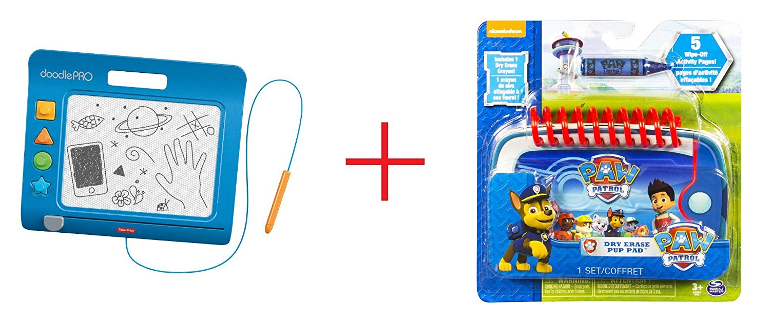Fisher-Price DoodlePro Slim - Blue and Paw Patrol, Dry Erase Pup Pad - Bundle