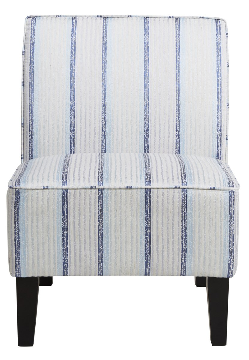 Pri striped armless slipper chair in blue and white