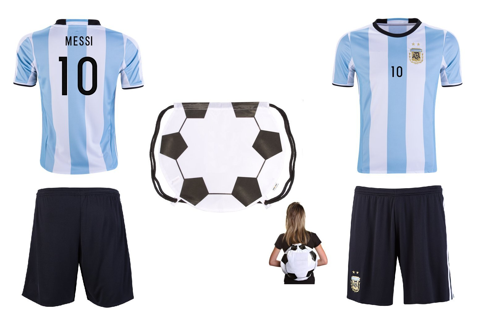 7ffba0a3d Get Quotations · ARGFC 2018 World Cup Argentina Messi Kids  10 Soccer Kit  Jersey and Shorts All Youth
