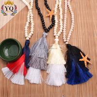 PYQ-00297boho long prayer bead necklace with tassel silk 3 layer pendant wooden bead akuma mala religious handmade thread fringe