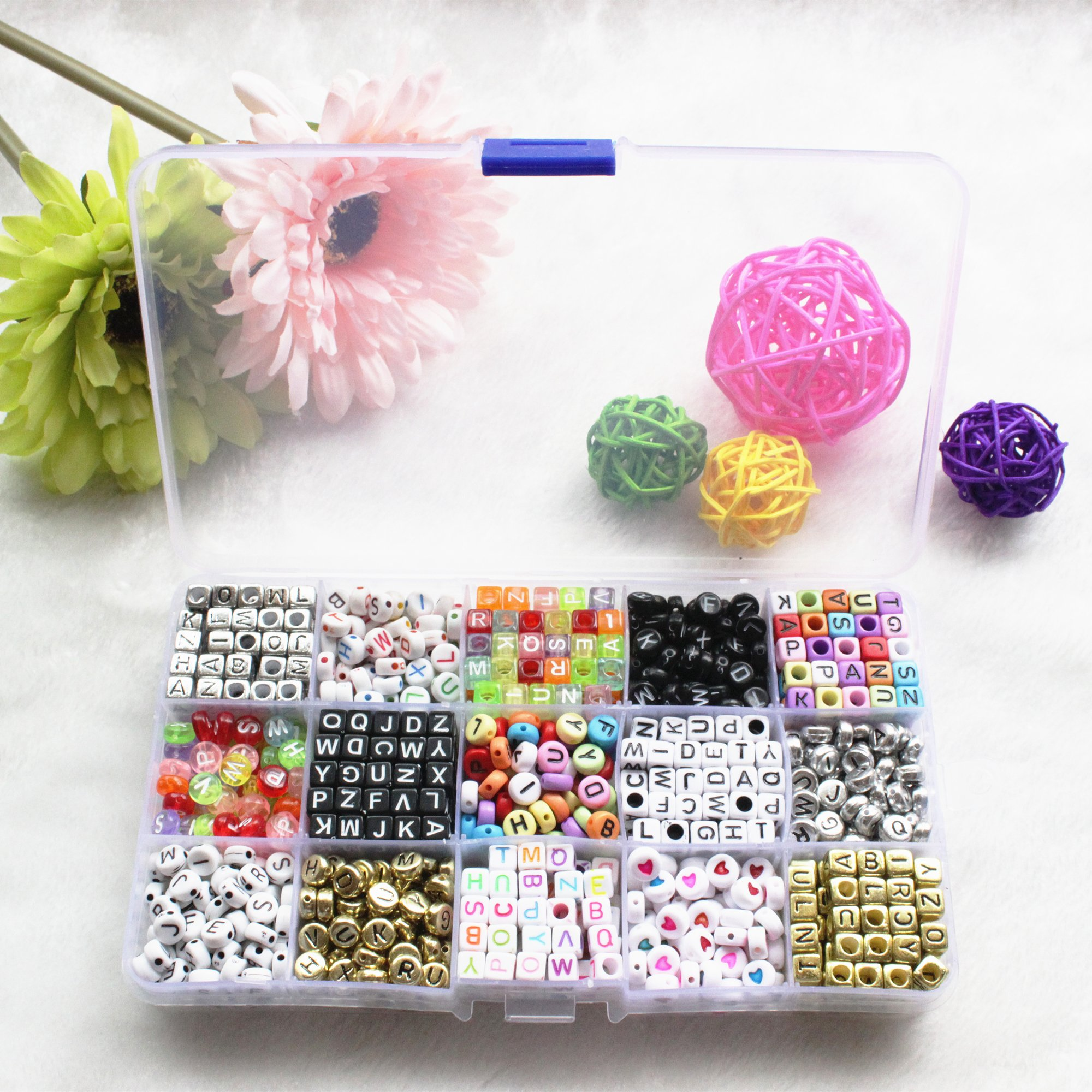Wolpark 1000 pcs Mixed DIY Acrylic Alphabet Letters Beads Cube Charms for DIY Loom Bands Bracelets