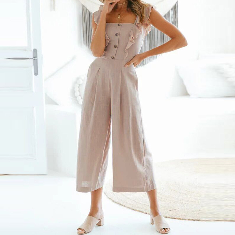 ee5f0527cf1 Women Ruffle Button Sleeveless Jumpsuit Wide Leg Pants Clubwear Jumpsuit  Playsuit Summer Beach Boho Long Loose Jumpsuits