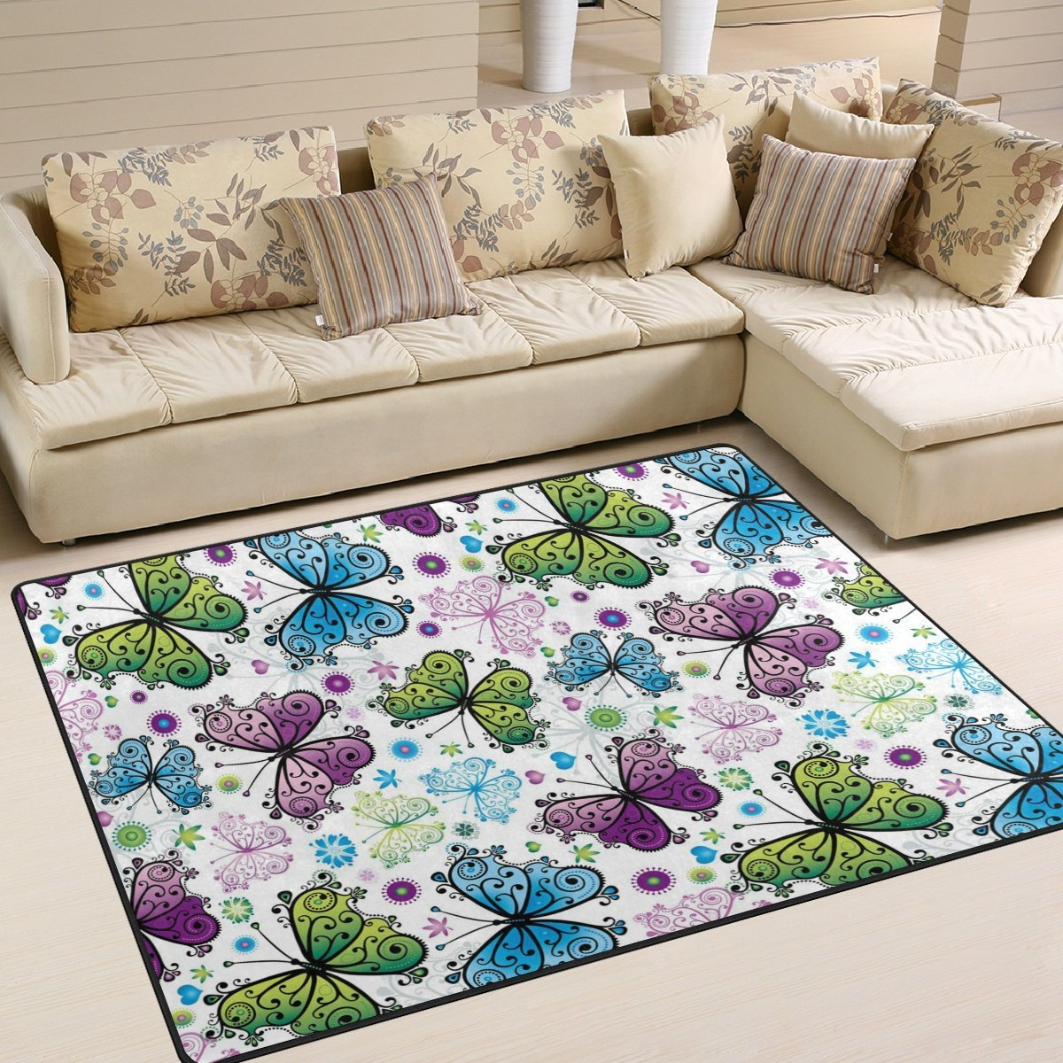 INGBAGS Super Soft Modern Butterfly Area Rugs Living Room Carpet Bedroom Rug for Children Play Solid Home Decorator Floor Rug and Carpets 6'7 x 4'8 - Feet