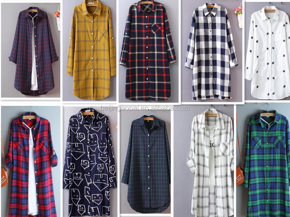 New style fashion100 cotton plus size women clothing long for New check designs