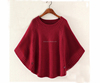 PK17ST428 lady fashion crew neck flat knitted pashmina poncho sweater for women