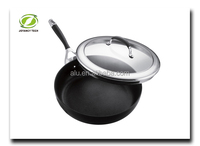 Black Aluminum Non-stick Deep Frying Cooking Egg Pizza Pancake Pan Skillet Factory Price High Quality with Glass Lid