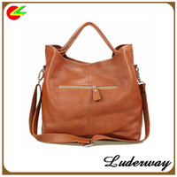 Laconic and old fashioned PU Zipper Design large soft leather Handbag yiwu market For Female