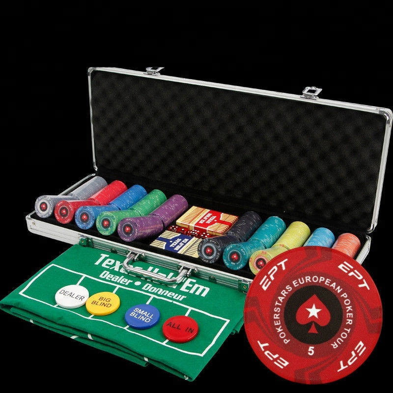 100/200/300/500 pz/set di Ceramica Casino Texas Hold'em EPT Poker Chips con la Scatola