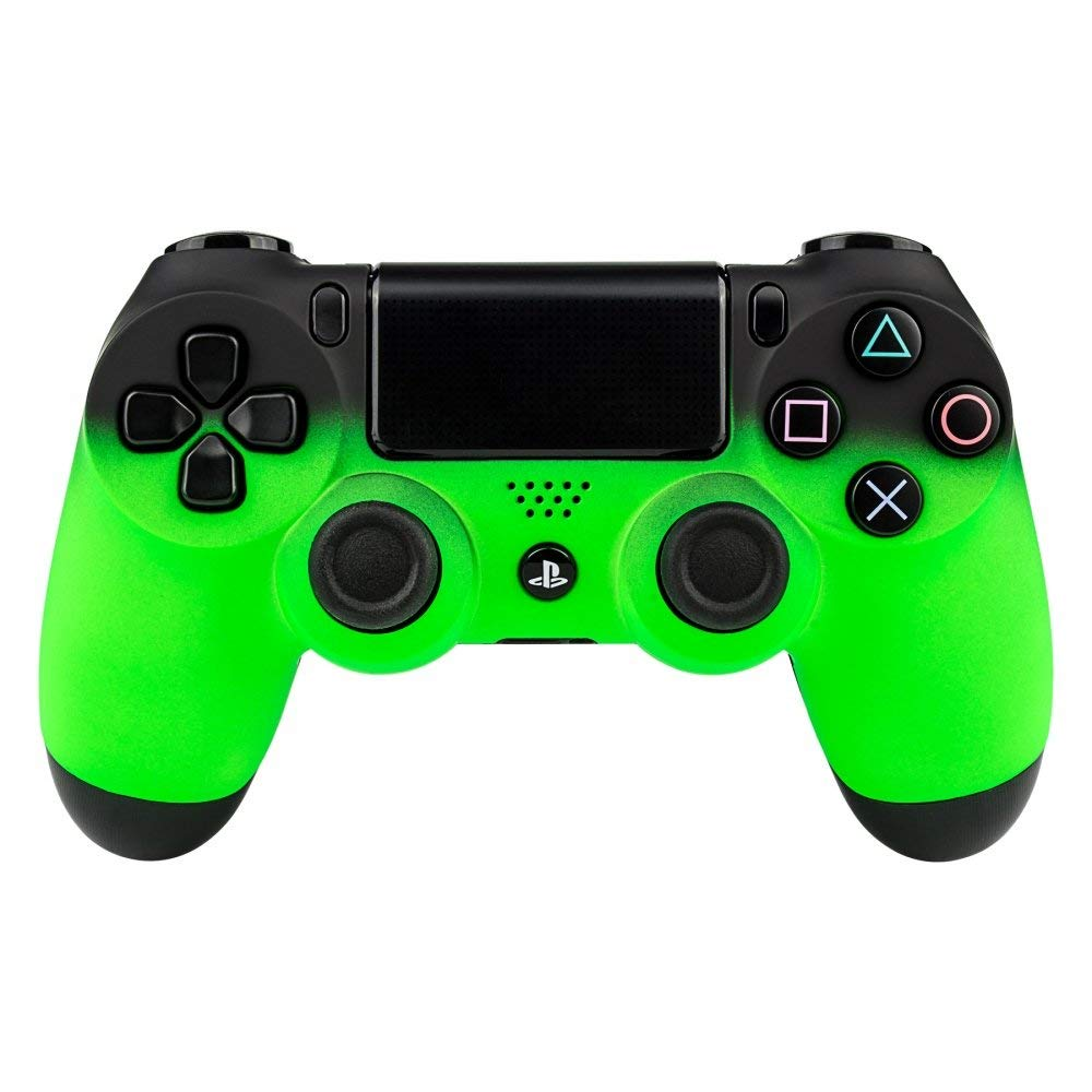 eXtremeRate Soft Touch Grip Green Front Housing Shell Faceplates for PS4 Controller JDM-001 JDM-011 JDM-020