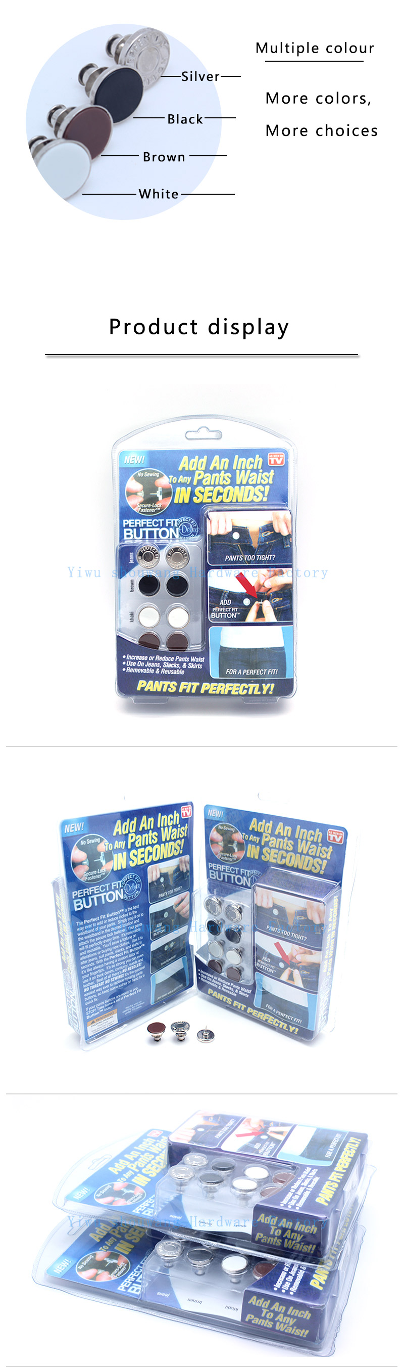 Source manufacturerproduction perfect Fit Instant Button - Adds an Inch to Any Pants Waist In Seconds TV button