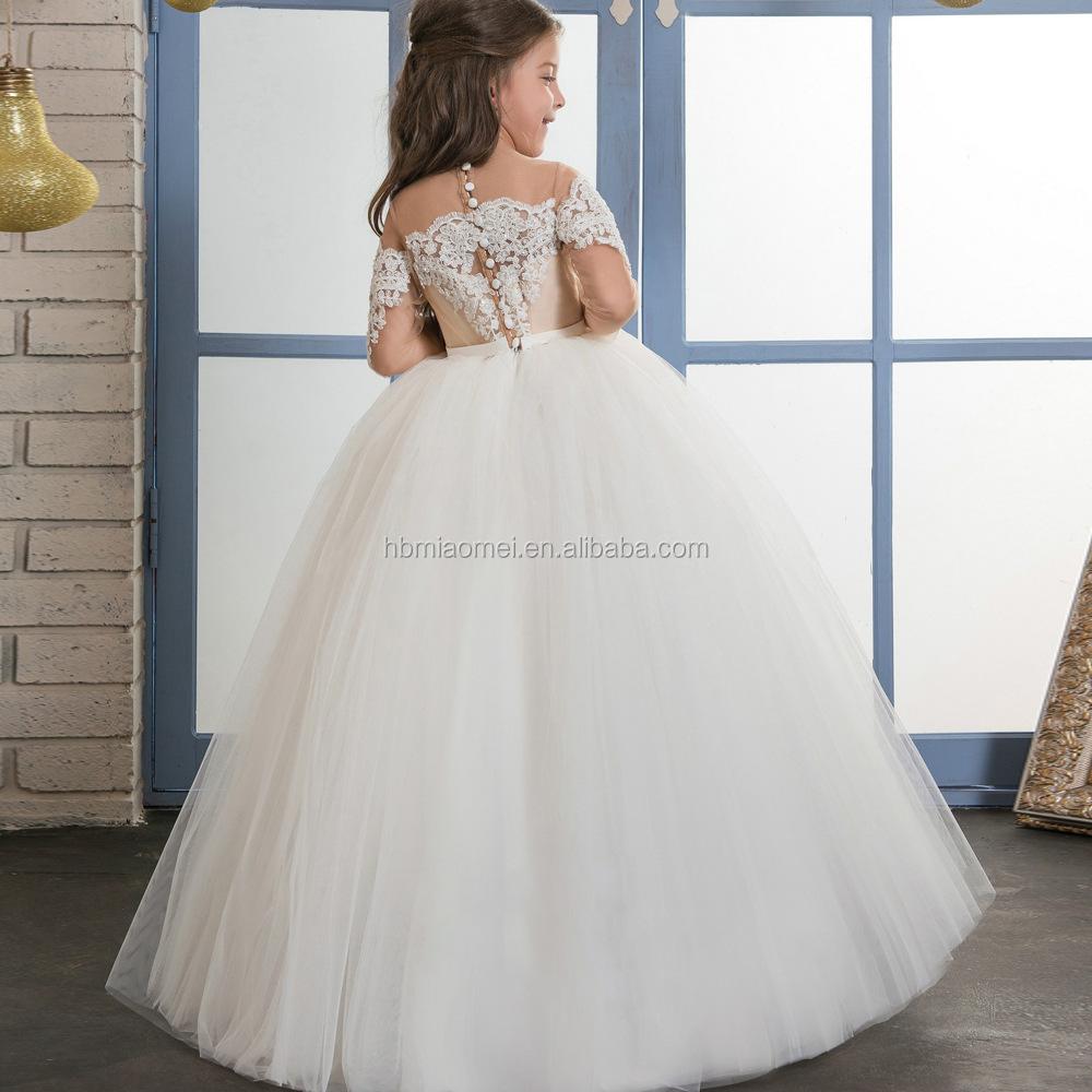 1340ccc50 Hermosa Chica Sin Vestido de Encaje Apliques Vestido de Fiesta para los  Musulmanes 4 Años Vestido De Niña