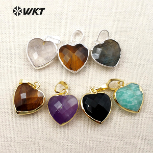 WT-P1306 Real Natural Black Agate Tigers Eye Pendant Heart Faceted Pendant With Real Gold Electroplated Gemstone Pendant