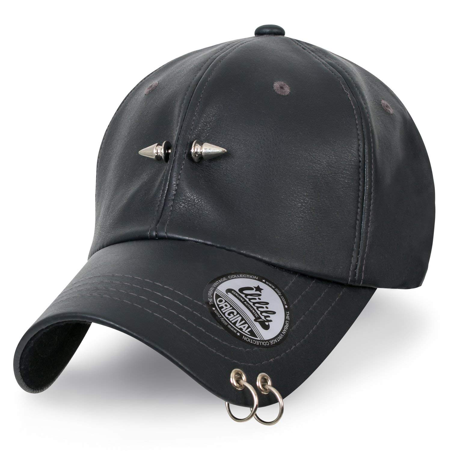 2c955ac92c5 Get Quotations · ililily Piercing Barbell Clip Ring Faux Leather Studded  Baseball Strap Cap Hat