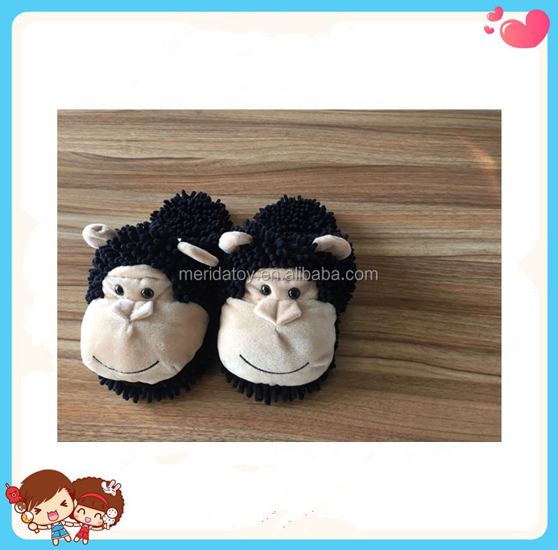 Free Sample Handmade Cute Cartoon Orangutan Shaped Stuffed Plush Winter Room Slippers
