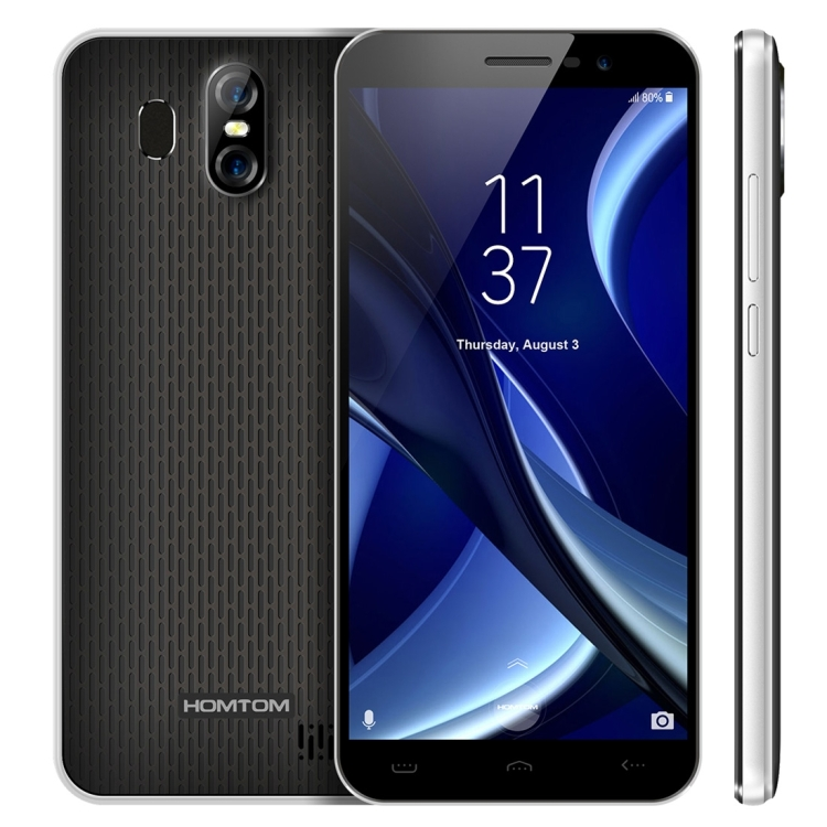 Ultra Slim 4G Phone HOMTOM S16,2GB+16GB 4 Camera 8MP 5.5 inch Android 7.0 Quad Core Fingerprint Id Standby Time 350 hours