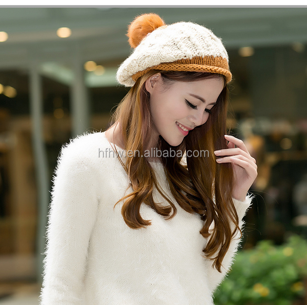 2016 Winter new women 's knitted hats classic leisure warm woolhat women' s hat women 's accessories