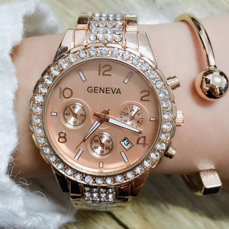 Newest Geneva Ladies Diamond Three Eyes Stainless Steel Quartz Watch Ladies Crystal Casual Analog Watches Relogio