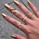 New 5pcs set stacking punk ring geometry Triangle midi ring with crystal women rings
