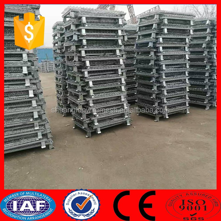 Foldable Wire Stackable Rolling Security Storage Metal Box Pallet Cages