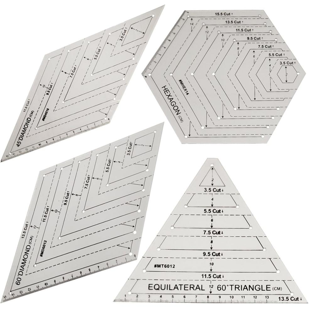 Embroidery Quilting Template Ruler 3mm thick make Feather Wave S Lines Low Shank