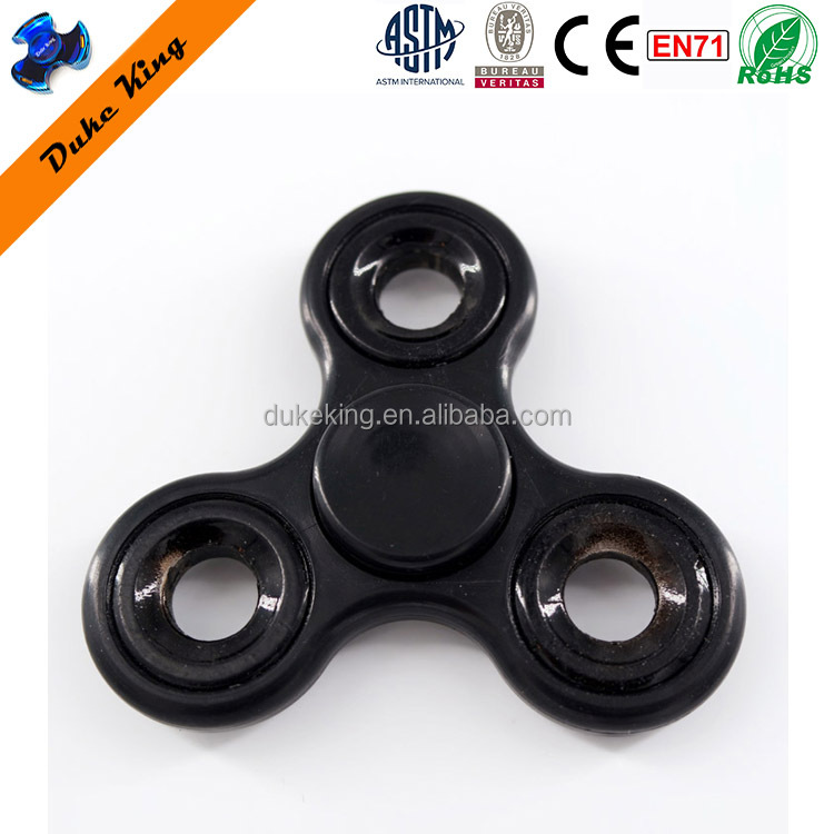 Black Basic Finger Hydro Spinner Toys With 3 Metal RingsTri spinner EDC ABS Hand Spinner