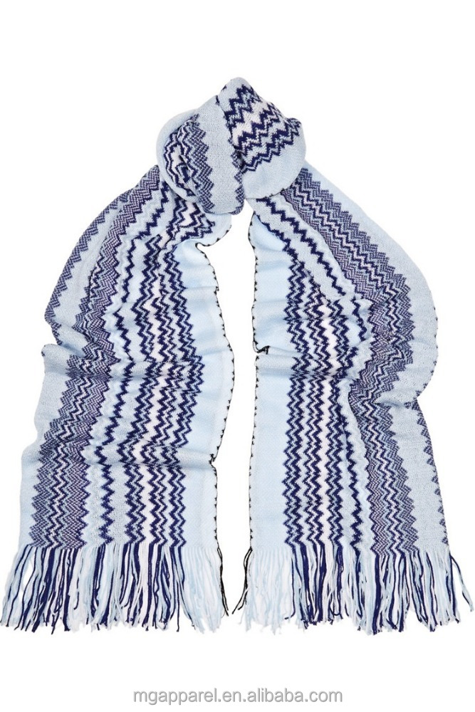most popular multicolored crochet knit blue 100 cotton scarf