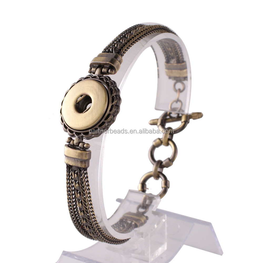 Fashion New 20MM with 1 Button Wide Snap Jewelry Bangle Bracelet Fit 18-20mm Snap Charms