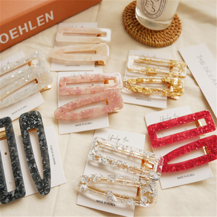 Vintage Tin Foil Korean Women Resin Geometric Acrylic Hair Accessories Duckbill Hair Clips Bobby Pin Alligator Hair Barrettes