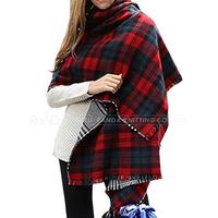 Women's Large Tassel Plaid Long Warm Soft Scarf Wraps Shawl