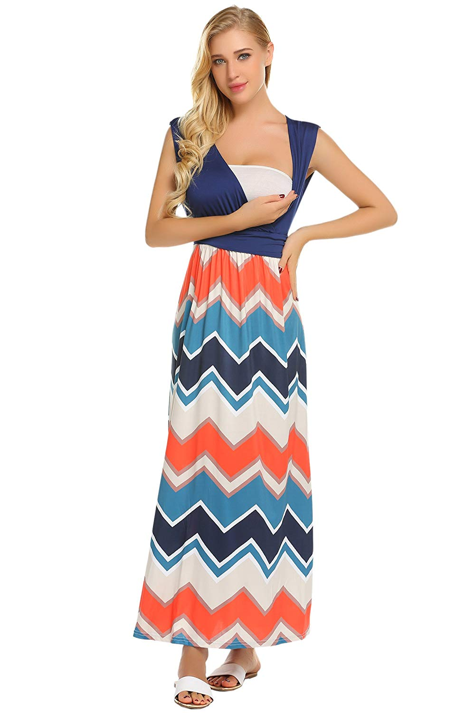 21f9aff832d3a5 Get Quotations · Hotouch Women's Maternity/Nursing Pregnancy Maxi Dress  Summer Beach Dress Breastfeeding Dress