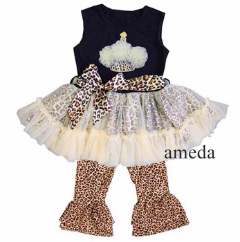 Rosettes Cupcake Black Cream Ruffled Top with Brown Leopard Pants and Sash Outfit