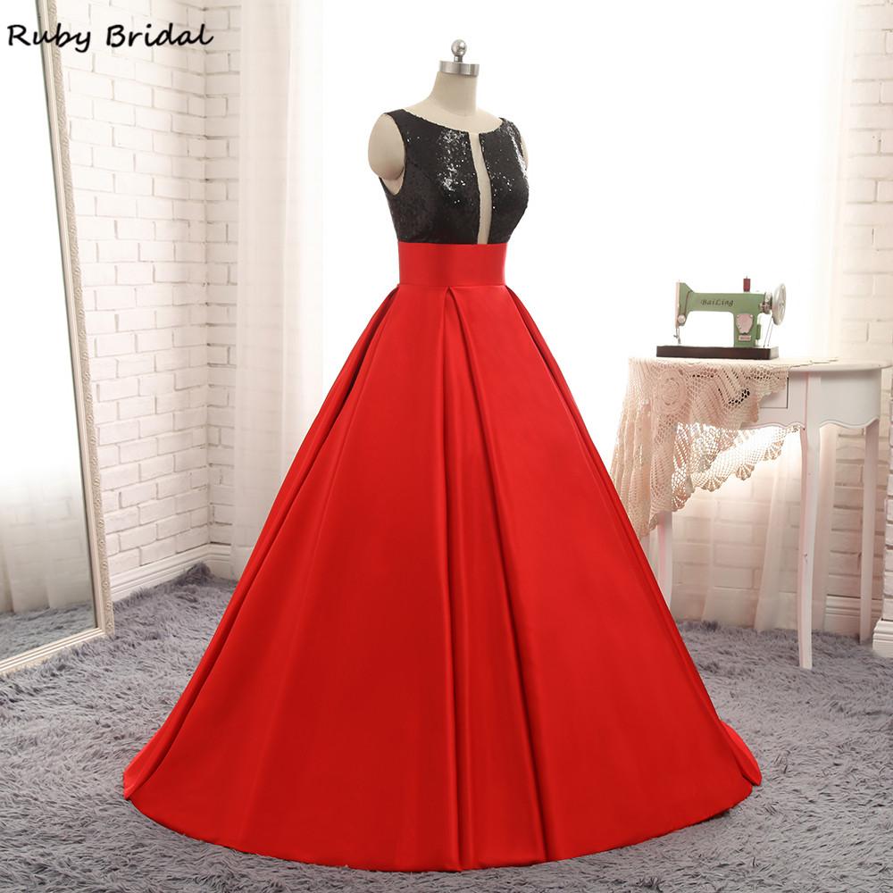 afdd0a56a84 Ruby Bridal Vestidos De Fiesta Red Prom Dress Luxury Satin Black ...