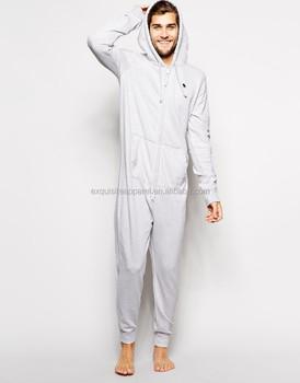 c22fde171030 Mens 100% Cotton Fleece one piece zipper up Sherpa lining pajama jumpsuit