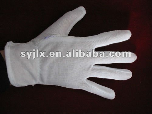 100% White Cotton Gloves With PVC dots