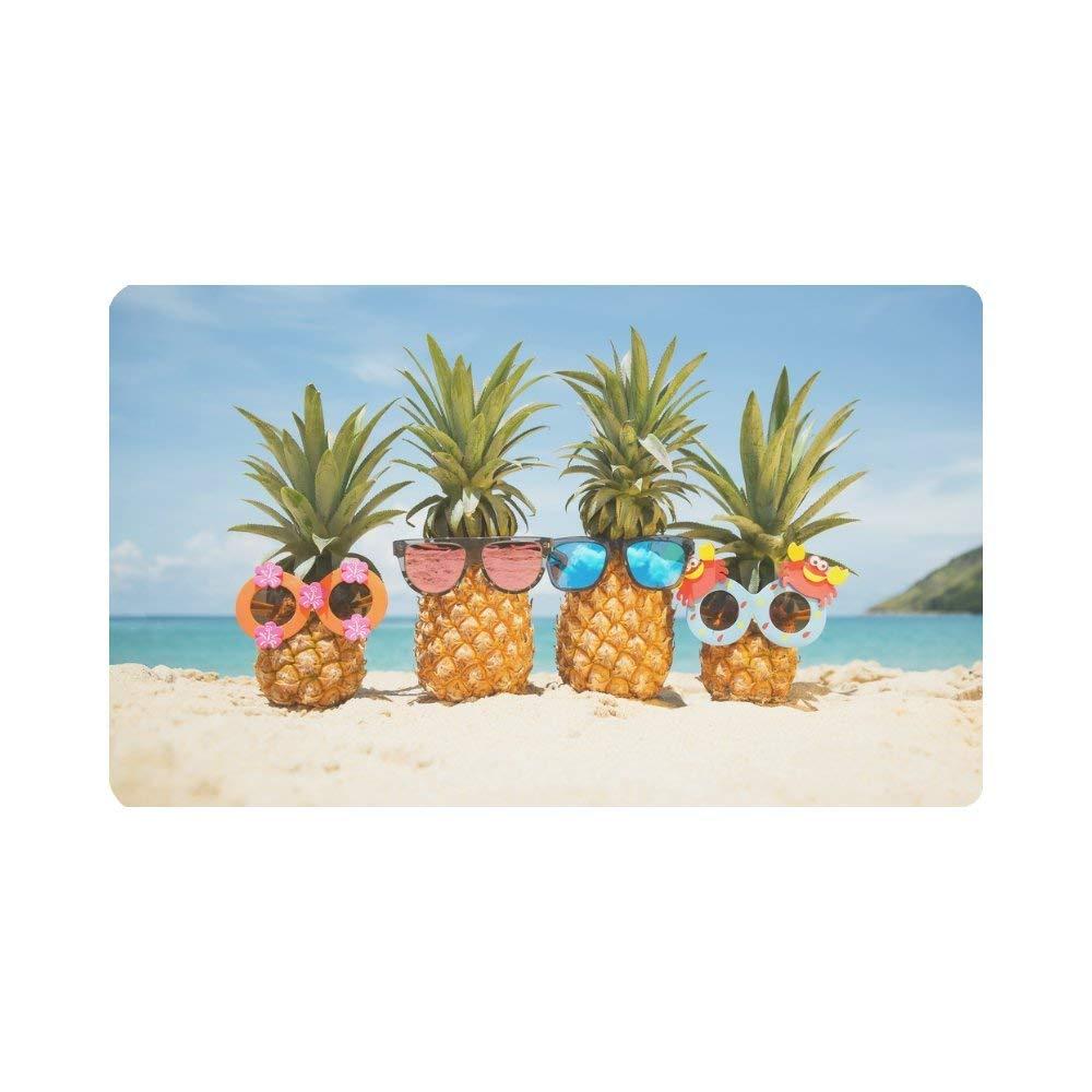 "InterestPrint Funny Tropical Summer Beach Pineapples Doormat Non-Slip Indoor And Outdoor Door Mat Rug Home Decor, Entrance Rug Floor Mats Rubber Backing, Large 30""(L) x 18""(W)"
