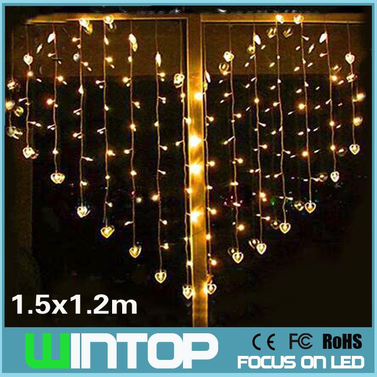 1.5M*1.5M 220V RGB/White/Warm White/Purple/Red Love Heart LED String Light