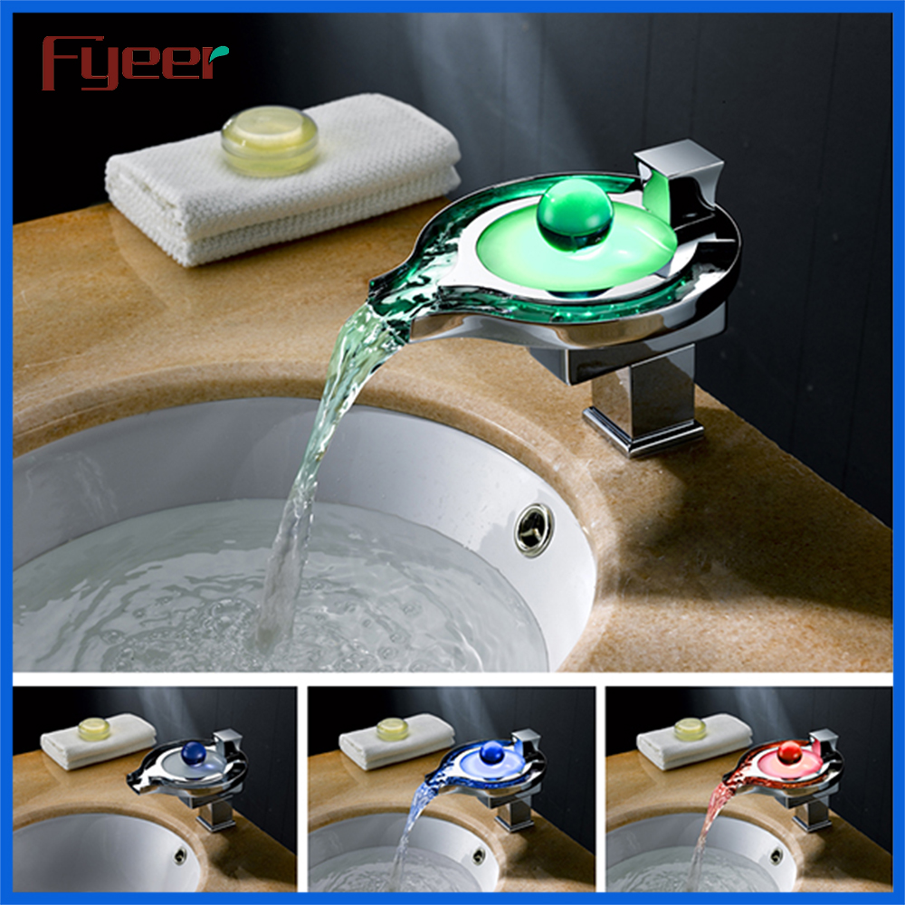 Fyeer New Hydro Power Temperature Sensor Bathroom Waterfall Basin Led Faucet