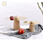 King Style Modern Design Elegant Free Stand Wooden Etagere Natural Round Snacks Kitchen Serving Stainless Steel Tray