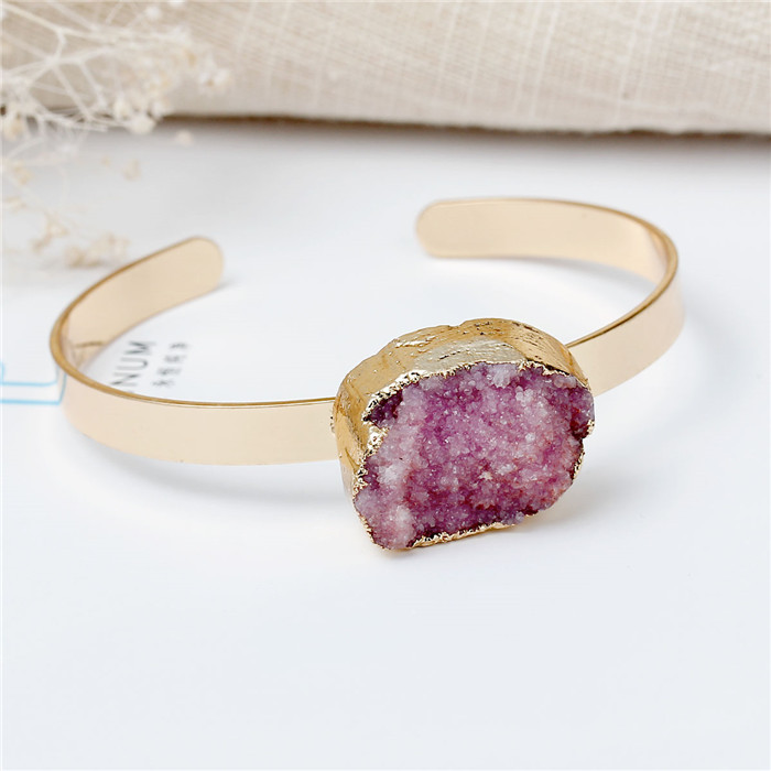 New Fashion Gold Plated Pale Lilac Oval Bracelets Copper & Natural Rose Quartz Druzy Bangles