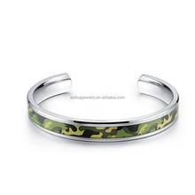 Fashion cheap Silver 316L Stainless Steel camo cuff bangle bracelet