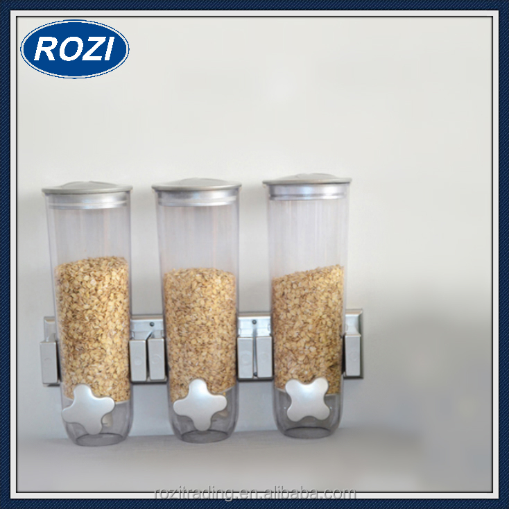 Triple Kitchen Dry Food Cereal Dispenser Canister Box Nuts Storage