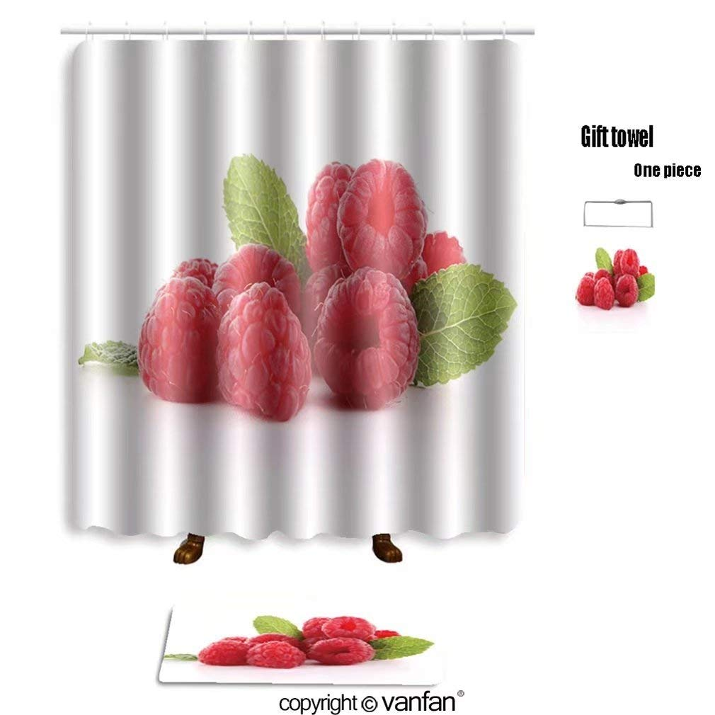 vanfan bath sets Polyester rugs shower curtain isolated raspberry 99242114 shower curtains sets bathroom 48 x 72 inches&23.6 x 15.7 (Free 1 towel 12 hooks)